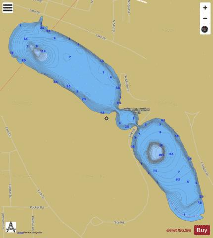 Frank Holten Main Lake / Whispering Willow Lake Fishing Map - i-Boating App