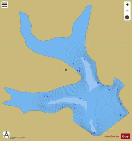Hickory Hills Lake Fishing Map - i-Boating App