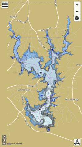 Kings Mountain Reservoir Fishing Map - i-Boating App