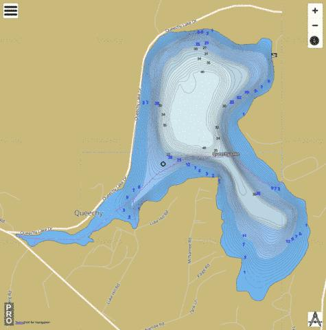 Queechy Lake Fishing Map - i-Boating App