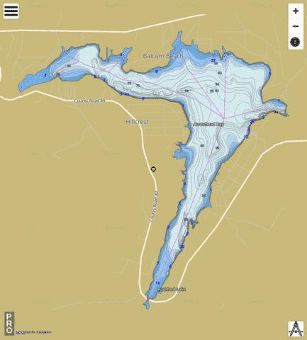 Rushford Lake Fishing Map - i-Boating App