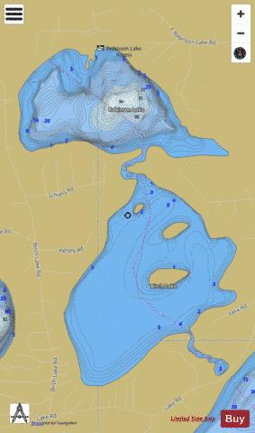 Birch Lake + Robinson Lake Fishing Map - i-Boating App