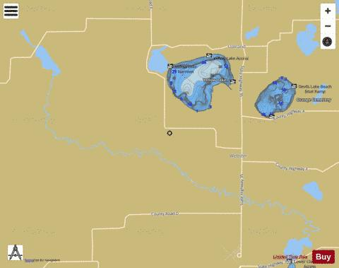 Clam River Flowage Fishing Map - i-Boating App