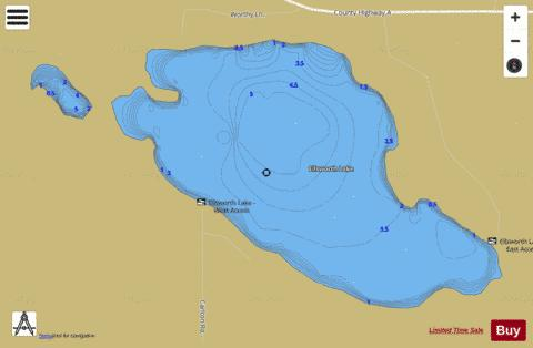Ellsworth Lake Fishing Map - i-Boating App