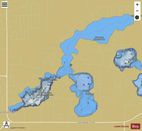 Little Saint Germain Lake Fishing Map - i-Boating App