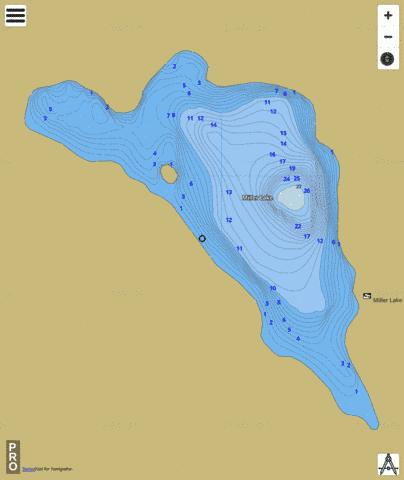 Miller Lake Fishing Map - i-Boating App