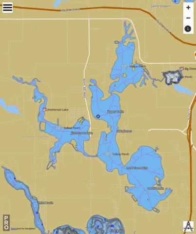 BigOtter Lake, Steuben county Fishing Map - i-Boating App