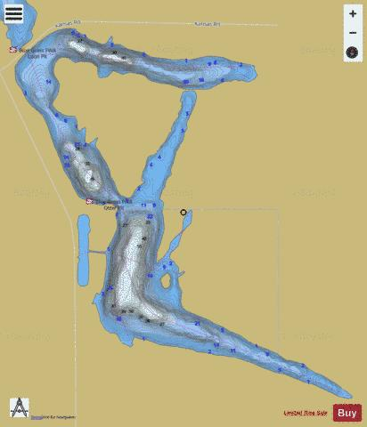 OTTER LAKE, WARRICK Fishing Map - i-Boating App