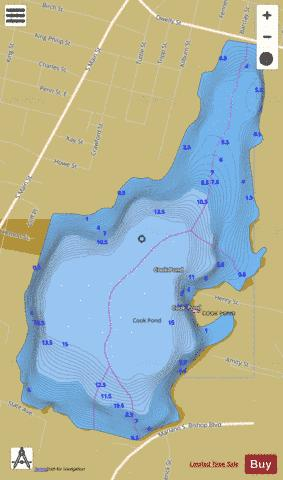 Cook Pond Fishing Map - i-Boating App