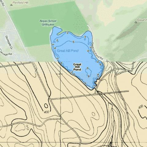 Great Hill Pond Fishing Map - i-Boating App