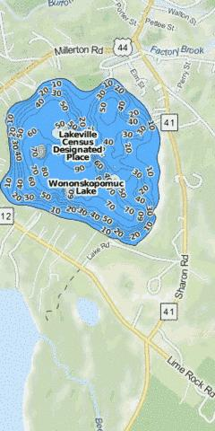 Wononskopomuc Lake Fishing Map - i-Boating App