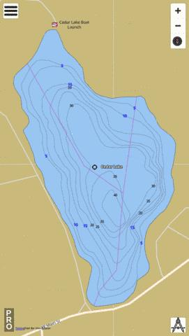 Cedar Lake Fishing Map - i-Boating App