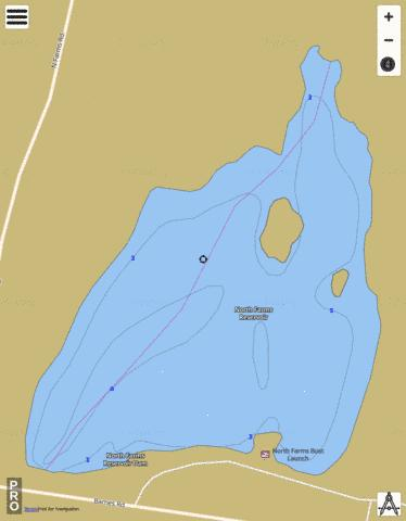North Farms Reservoir Fishing Map - i-Boating App