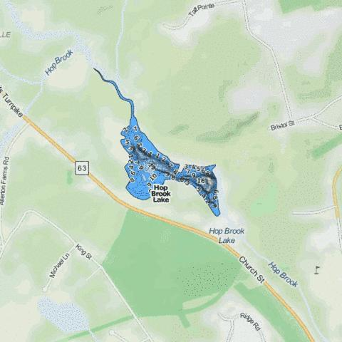 Hop Brook Lake Fishing Map - i-Boating App