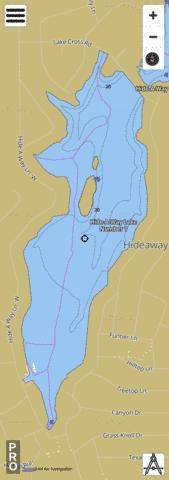 Hide-A-Way Lake Number 1 Fishing Map - i-Boating App