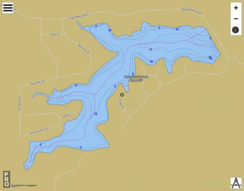Lake Shadowood Reservoir Fishing Map - i-Boating App