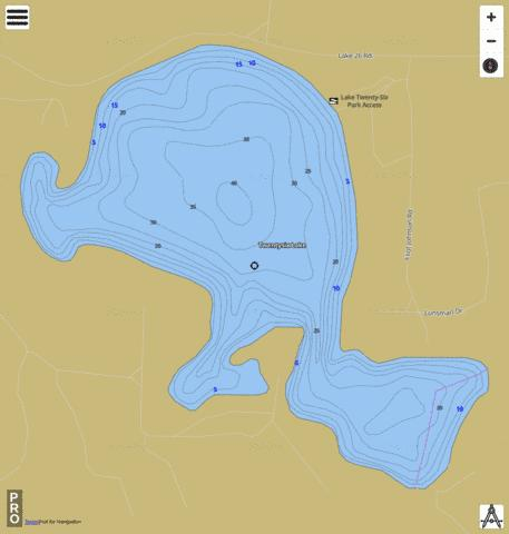 Twentysix Lake Fishing Map - i-Boating App
