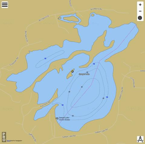 Sawyer Lake Fishing Map - i-Boating App