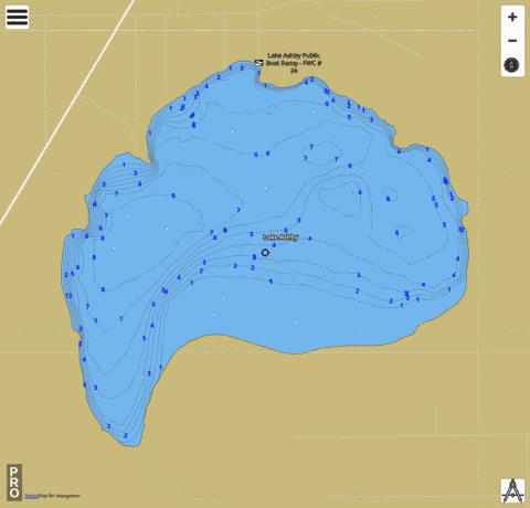 LAKE ASHBY Fishing Map - i-Boating App