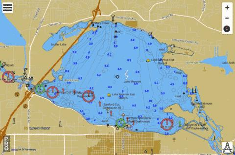 LAKE MONROE Fishing Map USFL Nautical Charts App - Map of florida lakes