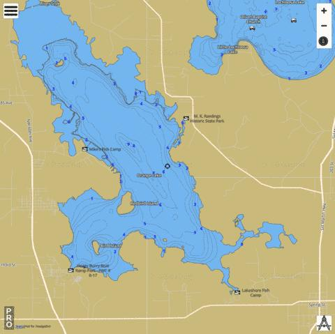 Orange Lake Fishing Map Us Fl 00288216 Nautical Charts App