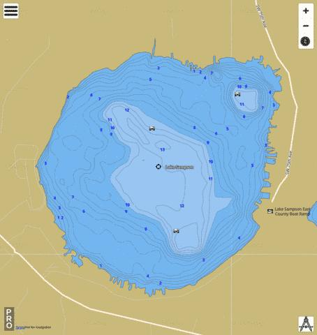 LAKE SAMPSON Fishing Map - i-Boating App