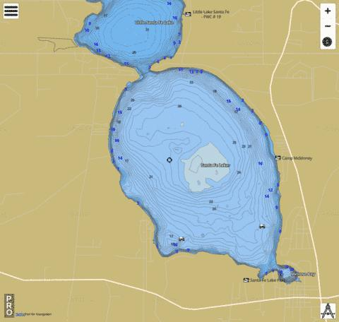 SANTA FE LAKE Fishing Map - i-Boating App