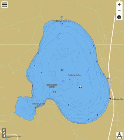 LOCHLOOSA LAKE Fishing Map - i-Boating App