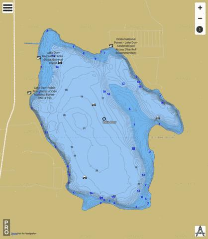 LAKE DORR Fishing Map - i-Boating App