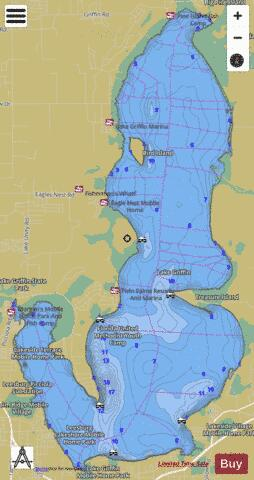 Lake griffin fishing map us fl 00305765 nautical for Kerr lake fishing hot spots