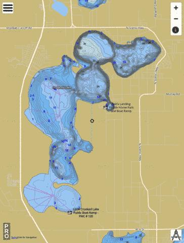 Crooked Lake Fishing Map - i-Boating App