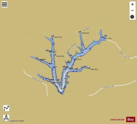 Beaver lake fishing map us km ky beaver lake 2 for Lake chickamauga fishing map