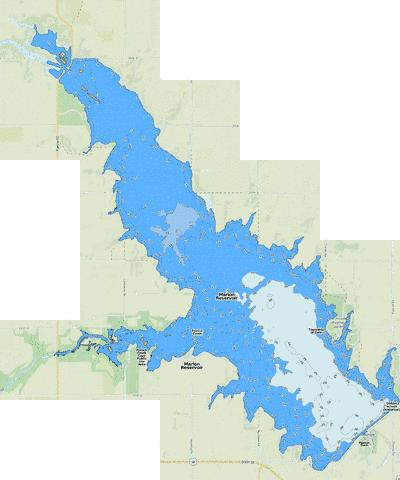 Marion Reservoir Fishing Map - i-Boating App