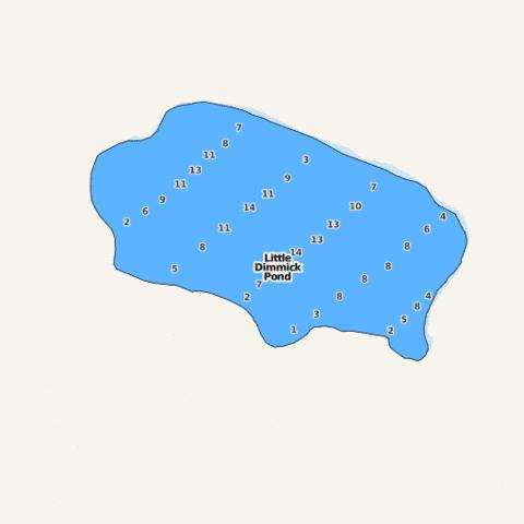 Little dimmick pond fishing map us me 00569747 for Pond depth for fish