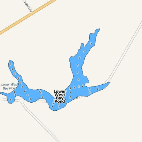 Lower West Bay Pond Fishing Map - i-Boating App