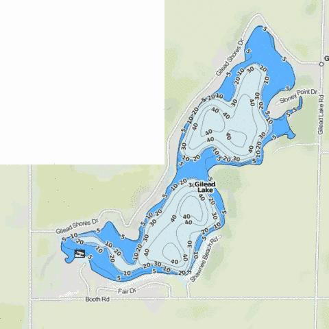 Gilead Lake Fishing Map - i-Boating App
