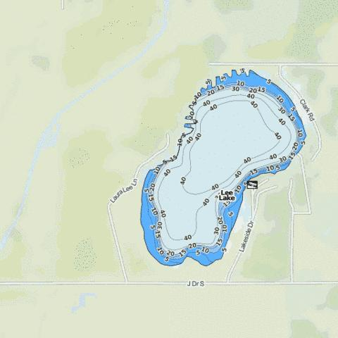 Lee Lake Fishing Map - i-Boating App