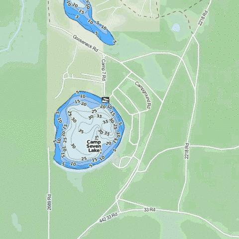 Camp Seven Lake Fishing Map - i-Boating App