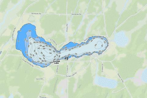 Sunset Lake Fishing Map - i-Boating App