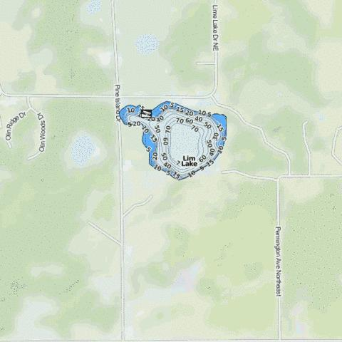 Lime Lake Fishing Map - i-Boating App