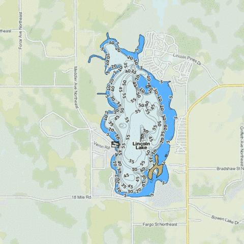 Lincoln Lake Fishing Map - i-Boating App