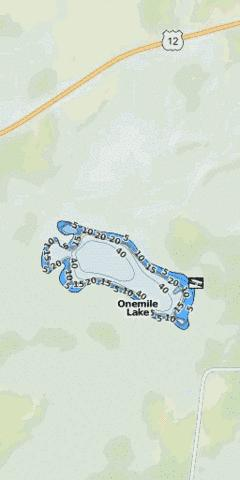 Onemile Lake Fishing Map - i-Boating App