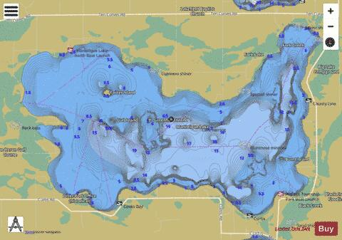 Manistique Lake Fishing Map - i-Boating App