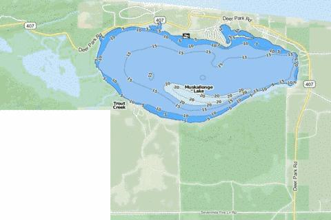 Muskallonge Lake Fishing Map - i-Boating App