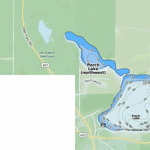 Perch Lake (northwest) Fishing Map - i-Boating App