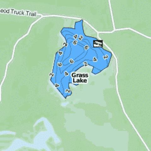 Grass Lake Fishing Map - i-Boating App