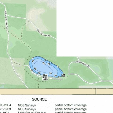 Bay City Lake Fishing Map - i-Boating App