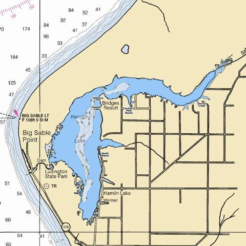 Hamlin Lake Fishing Map USMI Nautical Charts App - Usa lake map