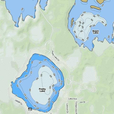 Pretty Lake Fishing Map USMI Nautical Charts App - Pretty lake map