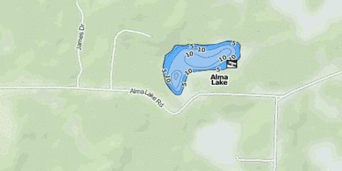 Alma Lake Fishing Map - i-Boating App